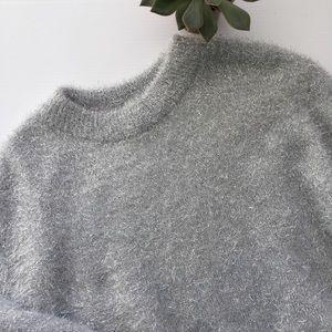 H & M Fuzzy Silver Gray Glitter Sweater Size L